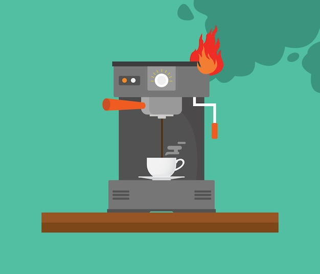 Broken coffee machine with smoke and fire vector