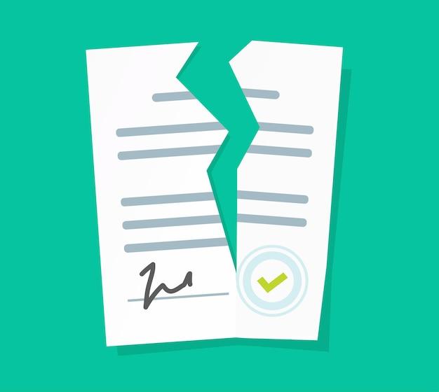 Нарушенный контракт вектор или нарушение соглашения плоский мультфильм значок