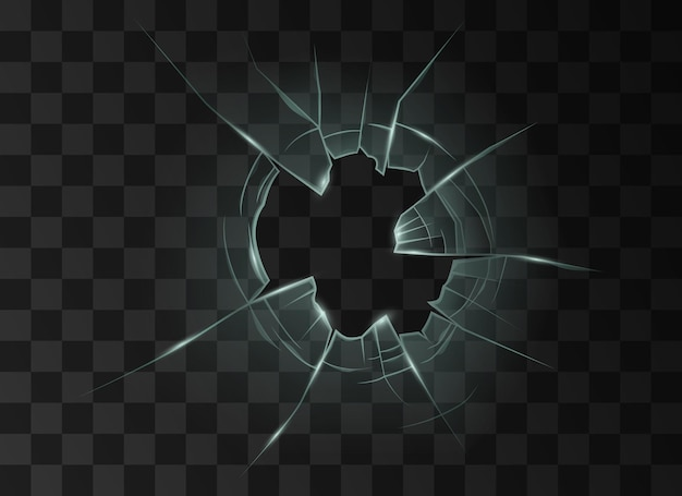 Broken cracked glass with hole from bullet or crash. transparent destroyed window or mirror surface on black background. realistic 3d vector illustration