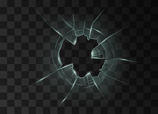 弾丸または衝突による穴のある割れたガラスの割れ。黒の背景に透明な破壊されたウィンドウまたはミラーの表面。現実的な3dベクトル図