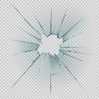 Broken and cracked glass with realistic shatters Premium Vector