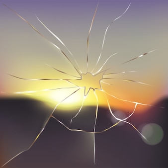 Broken and cracked window glass realistic vector