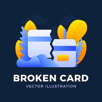 Broken credit card vector  illustration . the concept of mobile banking and closing a bank account. concept of losing or deleting a bank card.
