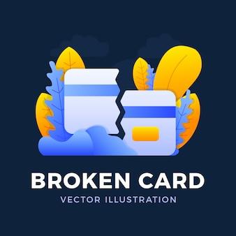 깨진 신용 카드 벡터 일러스트 레이 션. 모바일 뱅킹 및 은행 계좌 폐쇄 개념. 은행 카드 분실 또는 삭제의 개념.