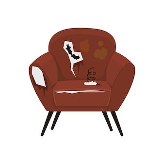 Сломанное грязное красное старое кресло с дырами и пружинами свалка мебели