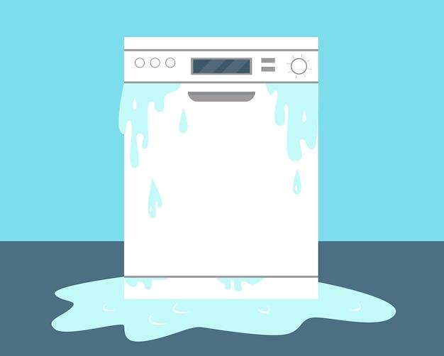 Сломанная посудомоечная машина и вода на полу