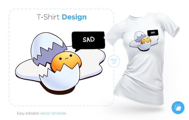 깨진 계란 티셔츠 디자인. 옷, 포스터 또는 기념품을 인쇄하십시오. 벡터 일러스트 레이 션 프리미엄 벡터