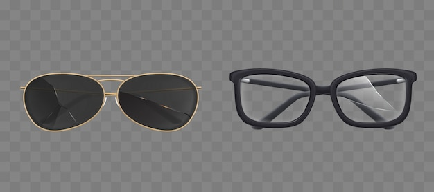 Broken eyeglasses and sunglasses, goggles set