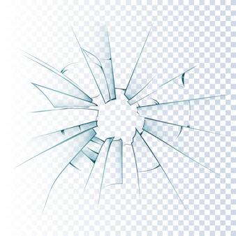 Broken frosted glass realistic icon Free Vector