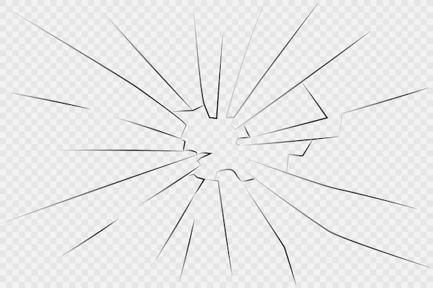 割れたガラス。白い背景の上のひびの入ったガラス