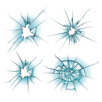 Broken glass, cracks on glass