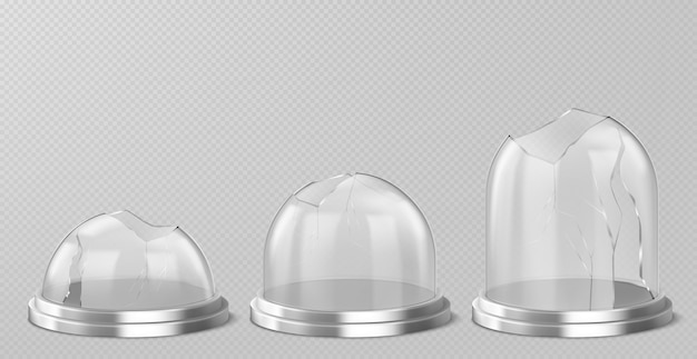 Broken glass domes on silver podium. realistic template of empty clear acrylic bell jars with cracks and holes. damaged snow balls on metal stand isolated on transparent background