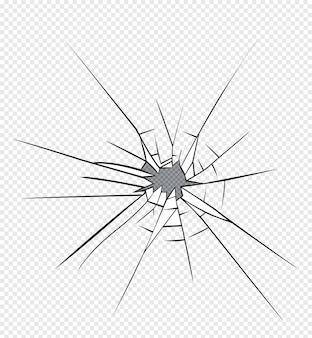 Broken glass effect. hole in the broken glass