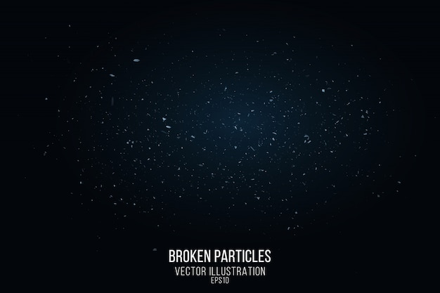 Broken glass effect with small particles isolated on a black background. flying fragments and a blue glow. vector illustration