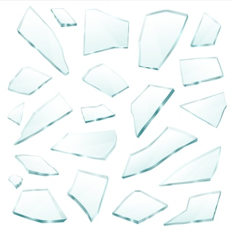 Broken glass fragments shards realistic set