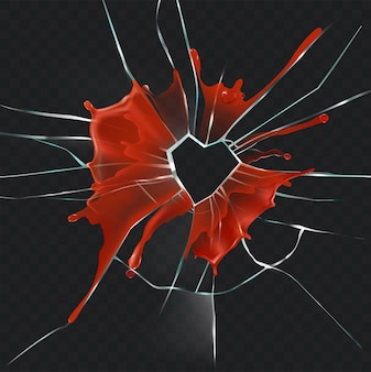 Broken glass heart bloody realistic vector concept