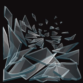 깨진 유리 조각이 흐릅니다. 검은 배경 및 손상 유리에 유리 조각 세트 투명