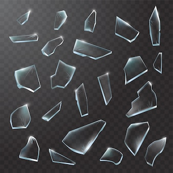 Broken glass pieces. shattered glass on black transparent background. realistic illustration