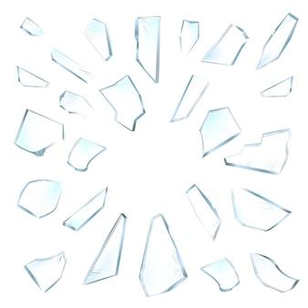 ガラスの破片。白い背景の上の粉々に砕けたガラス。リアルなイラスト