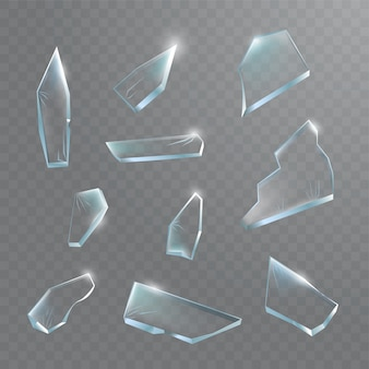 Broken glass pieces. shattered glass on transparent background.  realistic illustration
