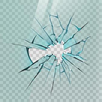 割れたガラス。鋭い破片と穴のある窓、氷、または鏡のリアルな亀裂。粉砕された画面効果、粉砕されたガラスのベクトルのモックアップ。イラストガラスのクラッシュ、破壊行為の粉砕、シャープな質感