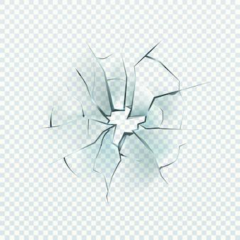 割れたガラス。現実的なひび割れ効果、破壊穴、フロントガラスや窓の損傷、粉々になったミラー、透明な背景に分離されたベクトルのクローズアップイラスト