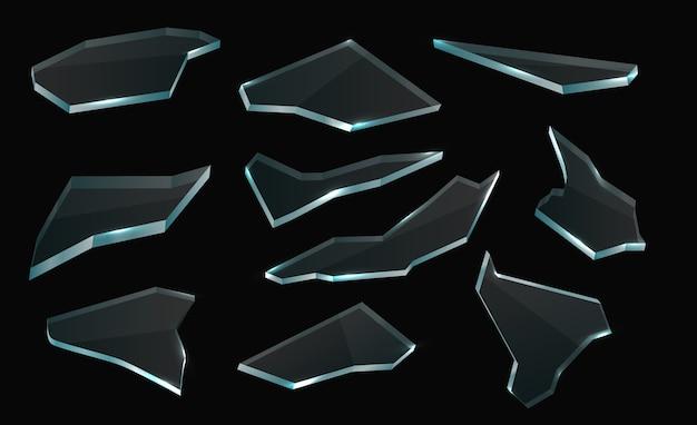 壊れたガラスの破片、孤立したリアルなベクトルの断片と透明な粉砕セット。