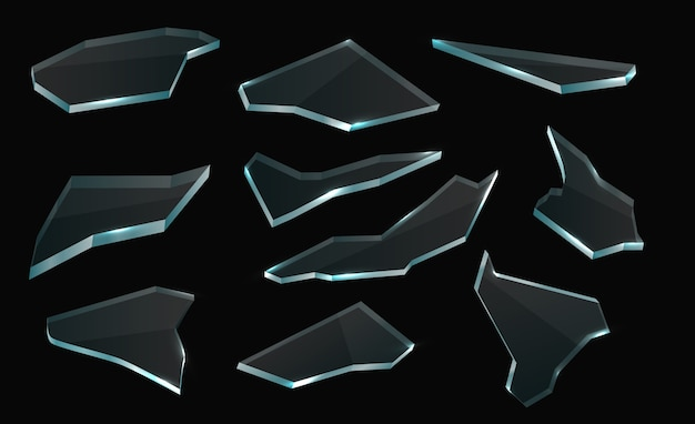 Broken glass shards, isolated realistic vector pieces and transparent shatters set.