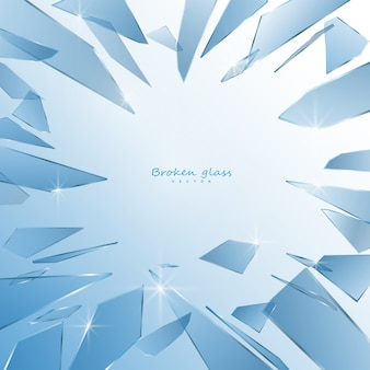 Broken glass shards  isolated on white background