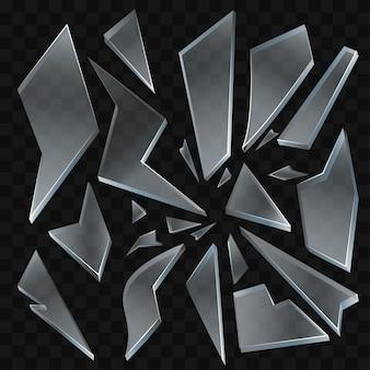 깨진 유리 조각 - 투명 한 배경에 현대 벡터 현실적인 격리 된 클립 아트. 다양한 모양과 형태의 조각. 고품질 이미지 세트