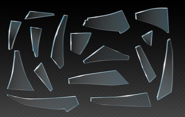 壊れたガラスの破片、ガラスの破片、透明な背景にリアルなクリップアート。さまざまな形や破片の破片。