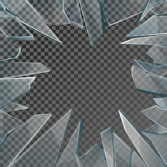 Broken glass window frame. window glass broken isolated on checkered background, illustration damage glass with hole