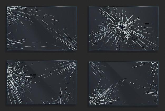 충격 또는 총알 샷으로 인한 균열 및 구멍이있는 깨진 유리