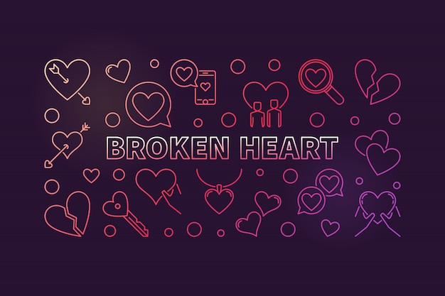 Broken heart concept colored outline illustration
