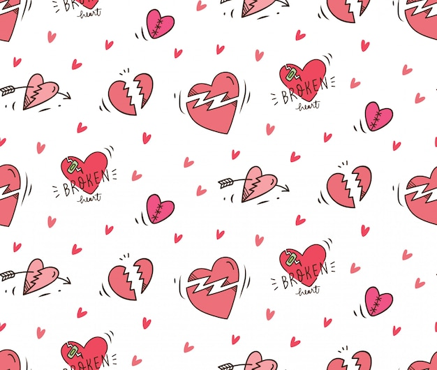 Broken heart doodle seamless background