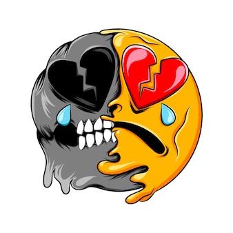 Broken heart face expression changes to dark skull broken heart emoticon