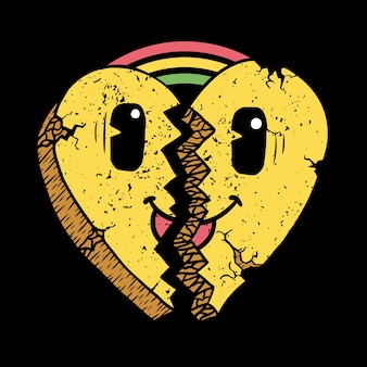Broken heart face with rainbows illustration