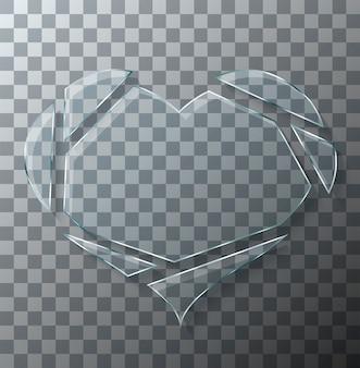 Broken heart glass