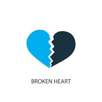 Значок разбитого сердца. иллюстрация элемента логотипа. дизайн символа разбитого сердца из 2-х цветной коллекции. простая концепция разбитого сердца. может использоваться в интернете и на мобильных устройствах.