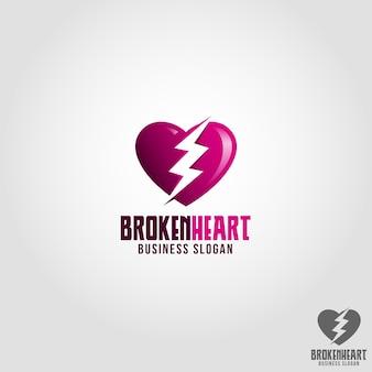 Broken heart logo template