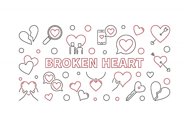 Broken heart  outline illustration  banner