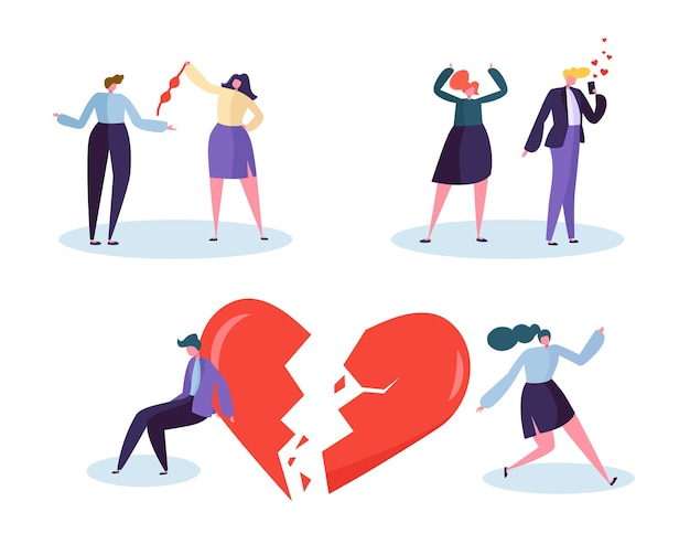 Broken heart people love relation concept. unhappy male and female character suspect partner jealousy. wife see how husband talking with girlfriend. flat cartoon vector illustration