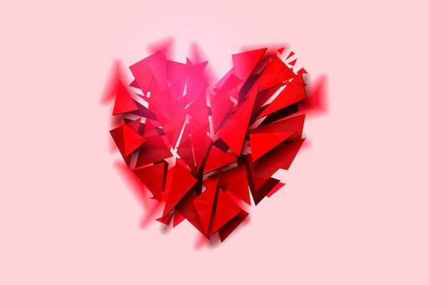 Broken heart on a pink background.