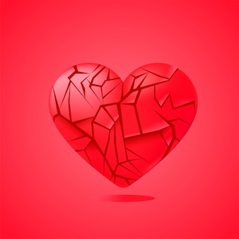 Broken heart sealed isolated. red glass shards.