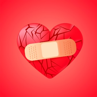 Broken heart sealed with medical bandage
