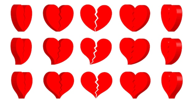 Broken heart shape icon turn around