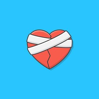 Разбитое сердце с иллюстрацией значка повязки. гипс любовь сердце плоский значок