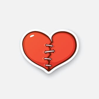 Broken heart with crack cartoon sticker in comic style with contour vector illustration