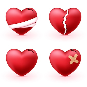 Broken hearts set of 3d realistic icons
