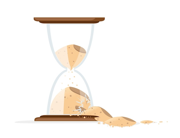 Broken hourglasses with sand pouring illustration